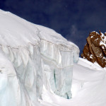 Glaciers are awesome to ski by. They are in many areas of the Alps. This glacier is near the Matterhorn.