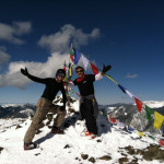 at the top of kachina peak in taos during a ski tours