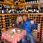Drinking some wine on Lake Como after our ski package to the italian Alps