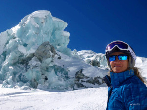 Deb on Mt. Blanc glacier last year in Italy. She would love to ski with you ladies during her free intermediate clinics in Madesimo.