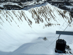 Big Sky tram that you can ride on your ski tour with morningstar ski tours.
