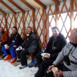 lunch time in a yurt on our snow cat ski package in idaho