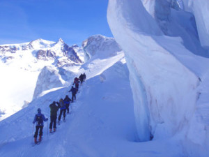 The backcountry skiing around Monte Rosa is glacier-filled and spectacular.