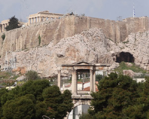 Temple ruins abound in Greece. Our hotel in Athens is a five minute walk from the base of this, the Parthenon.