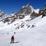 Deb enjoying the greet grooming and the great scenery of the Matterhorn in Cervinia last year.