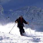 One of our Italian guides rips up some nice powder on the Black Glacier near Cervinia.