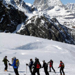 Group from past admires the Matterhorn, which is very close to Monte Rosa.
