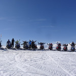 The snowmobile gang having a blast on a bluebird day in Italy last year.