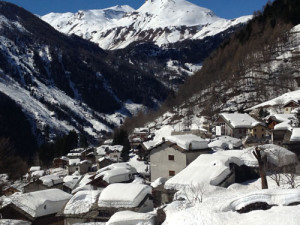 Snowy village of Madesimo.