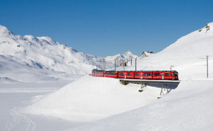 The Bernina Alpine train to St. Moritz, Switzerland is a world-famous must-do ride. It is a doable day trip from Bormio.