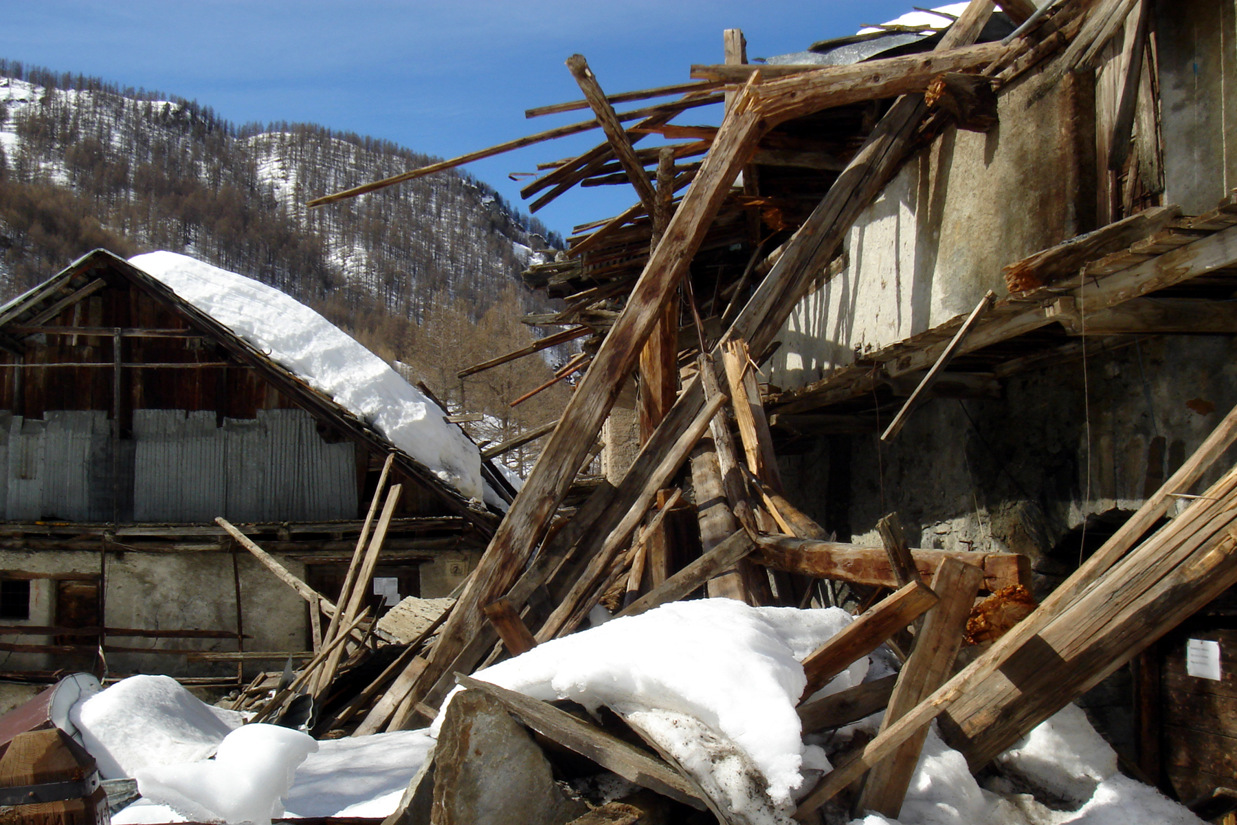 Remains of a village we skied to that was destroyed by a huge avalanche over 100 years ago.