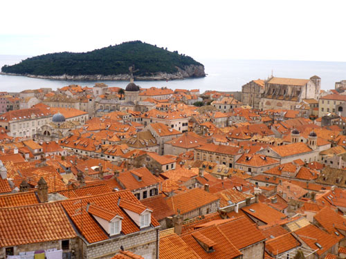 Red roofs of Dubrovnik viewed on our wall walk.