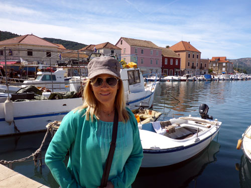 Deb in the harbor of Stari Grad, another ancient Croatian town on Hvar Island. What a day trip it was!