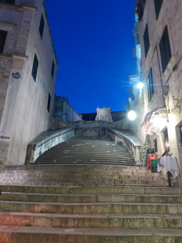 Stairway to heaven. Well, no.  But it sure is cool in Dubrovnik at night. You will have two of them to spend there.