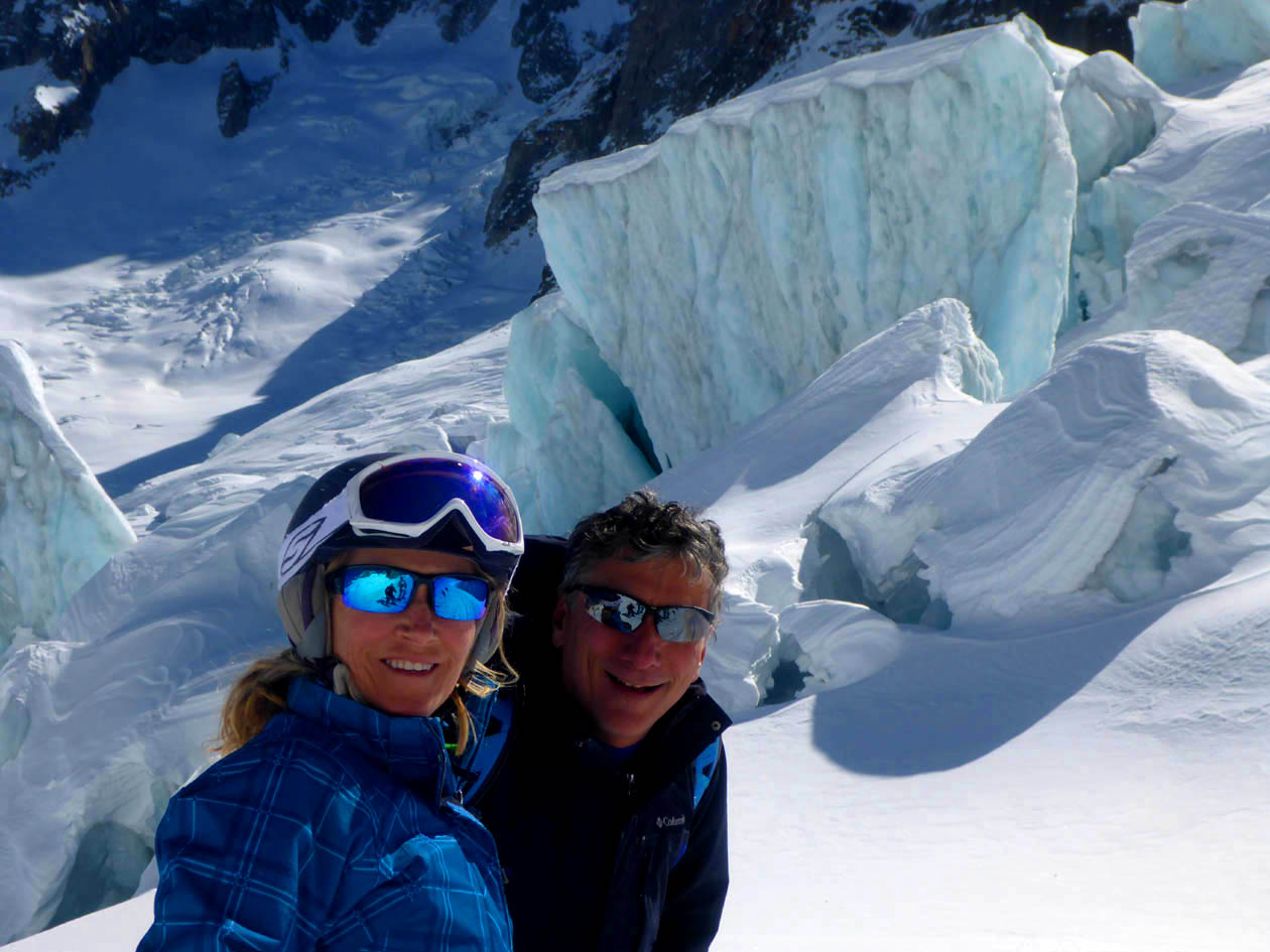 Deb and Skiman enjoying one of their best days ever on the amazing glacier run between Courmayeur and Chamonix: the Mer de Glace . It is a day any good intermediate skier can do. You will NEVER forget it!