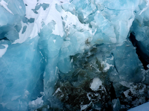 Close-up of the hundred's of years old glacier ice.