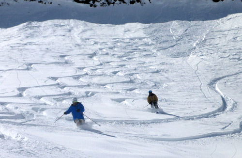 Big, untracked, uncrowded... that is the backcountry of the Alps.