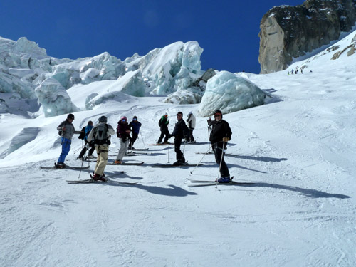 One of five guided groups on the Mer de Glace  glacier run.