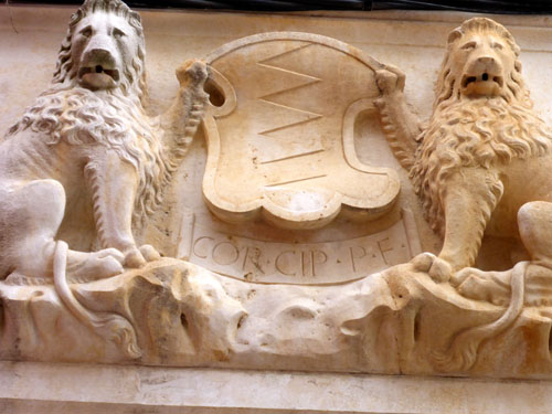 Coat-of-arms detail on a building.
