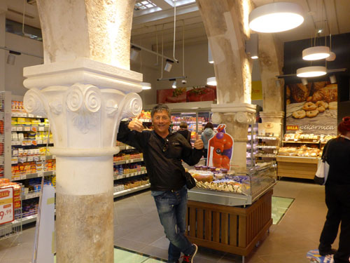 The coolest grocery store Skiman has ever seen! 1800 year old Roman columns in the middle of the store.... really!?