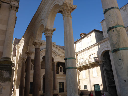 Diocletian's amazing palace became the city of Split when he was done with it.  Perfectly preserved 4th century Roman ruins NOT restored. These are the original buildings!