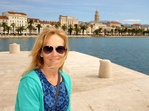 Deb enjoys a sunny day on the Split harbor.