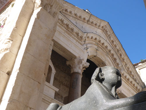 Egyptian Sphinx adorns the entrance to Roman Emperor Diocletian's palace in Split.