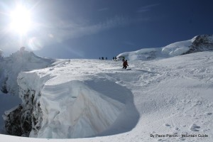 Massive cornices abound on this glacier.