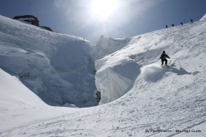 Crevasse 101 on the glacier... why you need Alpine Guides!