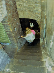 Stairway to the OLDEST wine cellar in the world, built in 80 BC. It is now a fab restaurant that is one of our visits on our optional 4 hour walking dinner tour in Trastevere. It is a must-do!