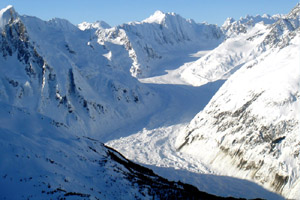 The Garrison Glacier is a frozen river of ice that we will fly around for the entire week.