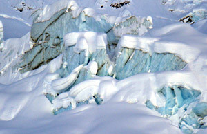 Glacial blue ice is everywhere, every day, at Haines heli.
