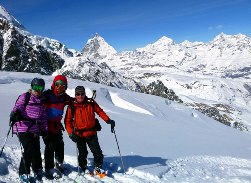 Deb, Skiman, and guide Paolo enjoy a surreal run on a glacier ski day from Italy to Switzerland and back on last March's Italy ski week. It is days like this that explain why we have returned to Europe for 24 straight years.