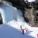 Frozen waterfall on one of our off-trail adventures.