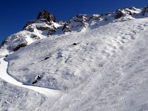 This slope is a tiny fraction of the 373 miles of trails. Glorious skiing for every level.