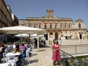 Deb in central piazza of old Lecce., a great place for lunch.